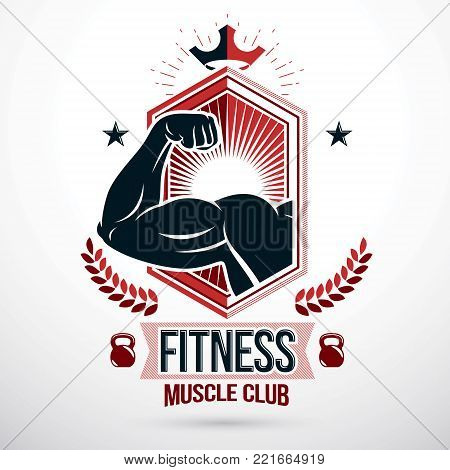 Graphic vector sign created with strong athlete biceps arm, royal crown and kettle bell sport equipment. Bodybuilding weightlifting gym emblem, sport club
