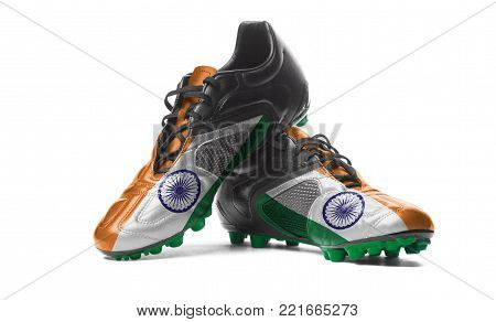 The Indian flag painted on football boots. Isolated on white background.
