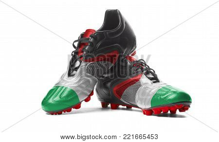 The Italian flag painted on football boots. Isolated on white background.