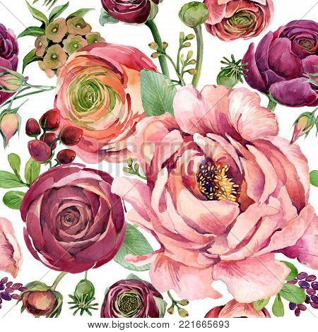 watercolor flowers seamless pattern. hand-drawn botanical illustration. floral composition for congratulations.