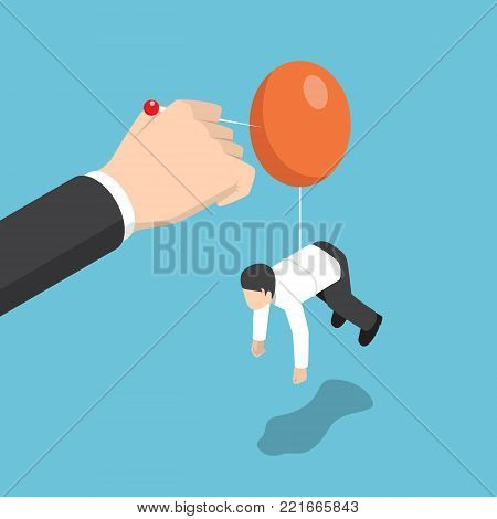 Businessman Hand Pushing Needle To Destroy Balloon Of Rival.