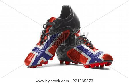 The Norwegian flag painted on football boots. Isolated on white background.