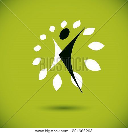 Vector illustration of happy abstract individual with raised hands up. Go green idea creative logo. Healthy lifestyle metaphor. Environmental conservation theme symbol.