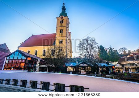 Scenic view at old baroque landmarks in Samobor town, Northern Croatia places.