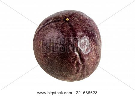 Close-up of a whole passion fruit (passionfruit, purple granadilla (Passiflora edulis)) isolated on white background.