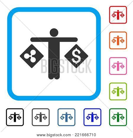 Person Compare Ripple Dollar icon. Flat gray iconic symbol inside a blue rounded square. Black, gray, green, blue, red, pink color versions of person compare ripple dollar vector.