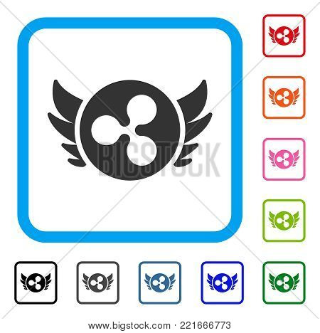 Ripple Angel Investment icon. Flat gray iconic symbol in a blue rounded rectangle. Black, grey, green, blue, red, pink color variants of ripple angel investment vector.
