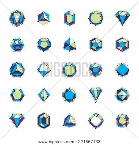 Set of faceted gemstone illustrations. Collection of abstract vector low poly objects with lines and dots connected can be used as corporate identity abstract logo.