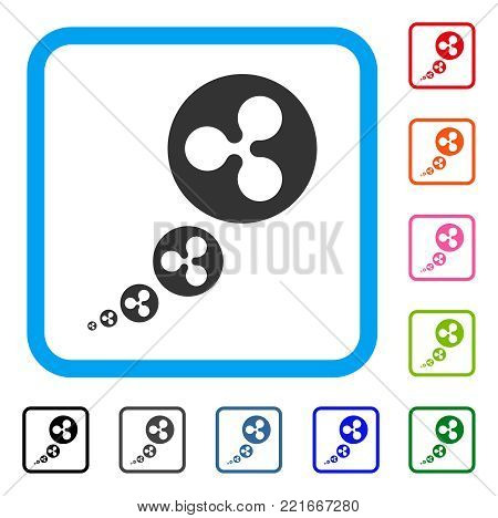 Ripple Inflation icon. Flat gray iconic symbol inside a blue rounded square. Black, grey, green, blue, red, orange color versions of ripple inflation vector.