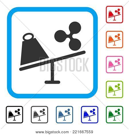 Ripple Trade Swing icon. Flat grey pictogram symbol inside a blue rounded rectangle. Black, grey, green, blue, red, pink color variants of ripple trade swing vector.