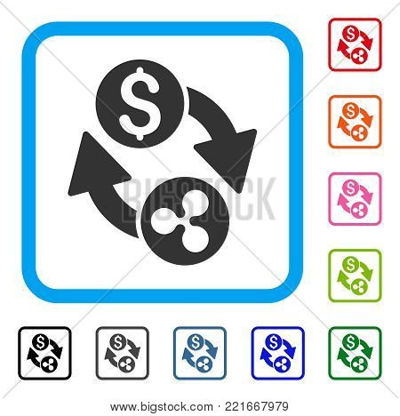 Ripple Dollar Exchange Arrows icon. Flat grey pictogram symbol in a blue rounded rectangle. Black, grey, green, blue, red, orange color additional versions of ripple dollar exchange arrows vector.