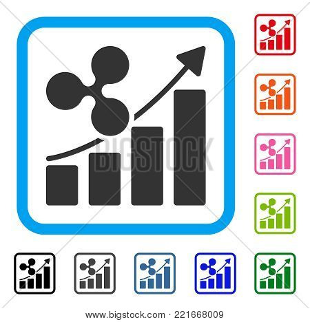 Ripple Growth Trend icon. Flat grey iconic symbol in a blue rounded rectangle. Black, gray, green, blue, red, pink color additional versions of ripple growth trend vector.