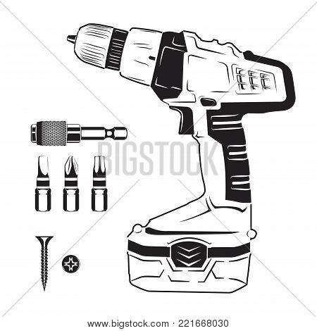 Electric screwdriver and bits, monochrome style, vector