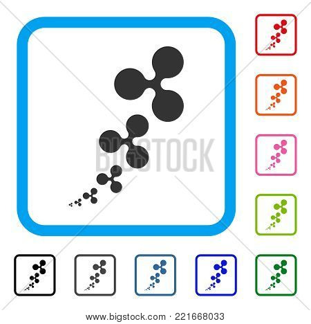 Ripple Inflation icon. Flat grey pictogram symbol in a blue rounded rectangular frame. Black, grey, green, blue, red, pink color versions of ripple inflation vector. Designed for web and app UI.