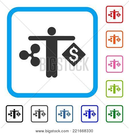 Person Compare Ripple Dollar icon. Flat gray iconic symbol in a blue rounded rectangular frame. Black, grey, green, blue, red, pink color additional versions of person compare ripple dollar vector.