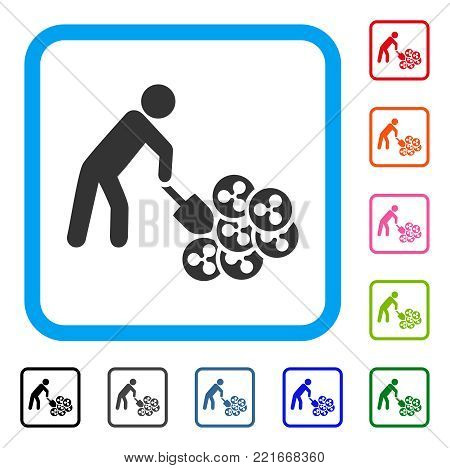 Person Digging Ripple icon. Flat gray iconic symbol in a blue rounded rectangular frame. Black, grey, green, blue, red, orange color variants of person digging ripple vector.