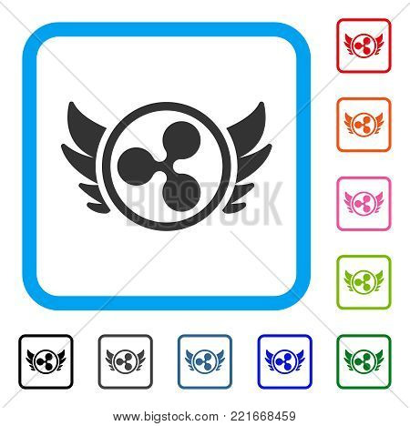 Ripple Angel Investment icon. Flat gray iconic symbol in a blue rounded square. Black, grey, green, blue, red, orange color variants of ripple angel investment vector.