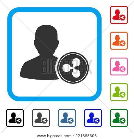 Ripple Banker icon. Flat gray pictogram symbol in a blue rounded rectangle. Black, gray, green, blue, red, orange color additional versions of ripple banker vector. poster
