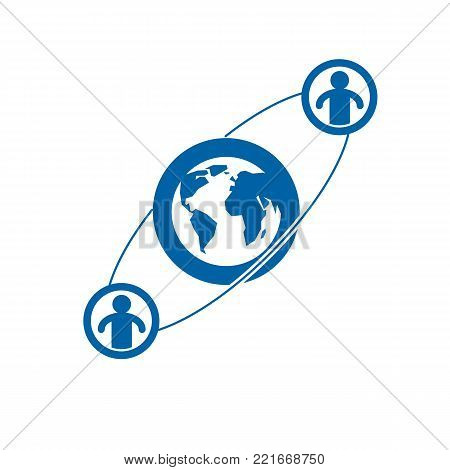 World and Person creative logo, unique vector symbol created with different icons. System and social Matrix sign. Person and humankind interacts with each other. System and social Matrix sign.