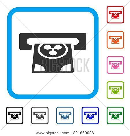 Ripple Card Terminal icon. Flat gray pictogram symbol inside a blue rounded rectangle. Black, gray, green, blue, red, pink color variants of ripple card terminal vector.