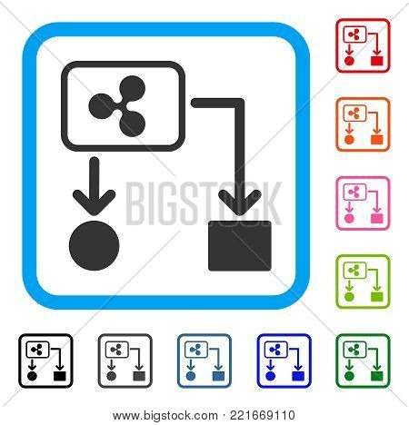 Ripple Cashflow icon. Flat gray pictogram symbol inside a blue rounded frame. Black, grey, green, blue, red, pink color additional versions of ripple cashflow vector.