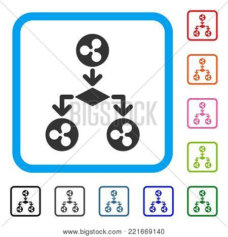 Ripple Cashflow Structure icon. Flat grey iconic symbol in a blue rounded frame. Black, grey, green, blue, red, orange color versions of ripple cashflow structure vector.