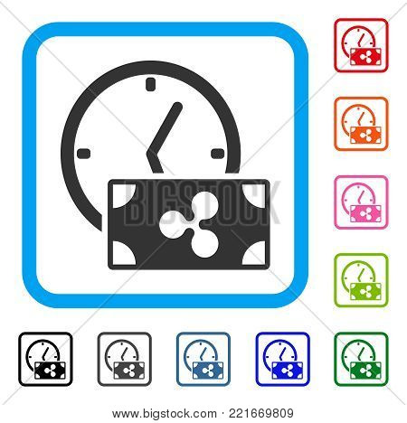 Ripple Credit Time icon. Flat gray pictogram symbol in a blue rounded squared frame. Black, grey, green, blue, red, pink color versions of ripple credit time vector.