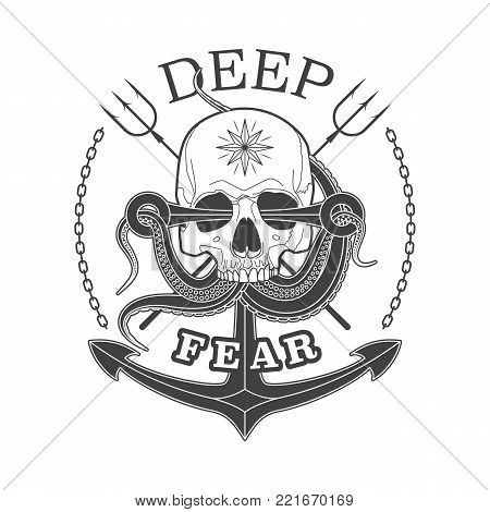 Deep Fear Skull vector black and white emblem with a skull, tentacles of an octopus and anchor.