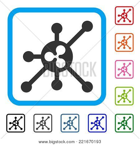 Ripple Full Node icon. Flat grey pictogram symbol in a blue rounded squared frame. Black, grey, green, blue, red, pink color additional versions of ripple full node vector.