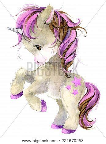 cute cartoon unicorn hand draw watercolor illustration