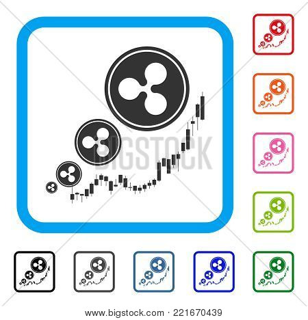 Ripple Inflation Chart icon. Flat gray pictogram symbol in a blue rounded square. Black, gray, green, blue, red, pink color versions of ripple inflation chart vector.