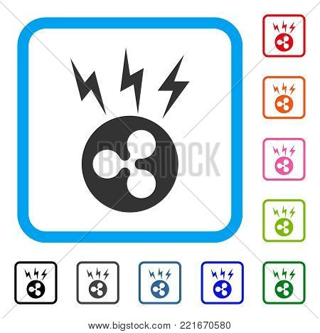 Ripple Lightnings icon. Flat grey pictogram symbol inside a blue rounded squared frame. Black, gray, green, blue, red, pink color variants of ripple lightnings vector.