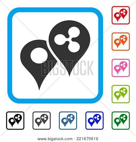 Ripple Map Markers icon. Flat gray iconic symbol inside a blue rounded square. Black, gray, green, blue, red, orange color additional versions of ripple map markers vector.