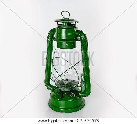kerosene retro lamp green on a light background