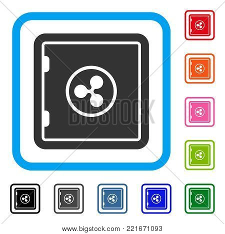 Ripple Safe icon. Flat gray pictogram symbol inside a blue rounded rectangle. Black, grey, green, blue, red, pink color additional versions of ripple safe vector. Designed for web and software UI.