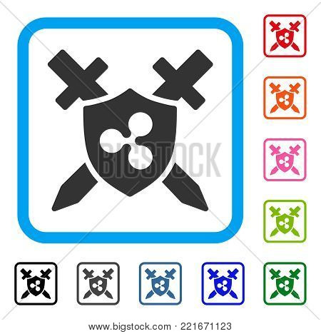 Ripple Shield Swords icon. Flat gray iconic symbol in a blue rounded rectangular frame. Black, grey, green, blue, red, pink color additional versions of ripple shield swords vector.