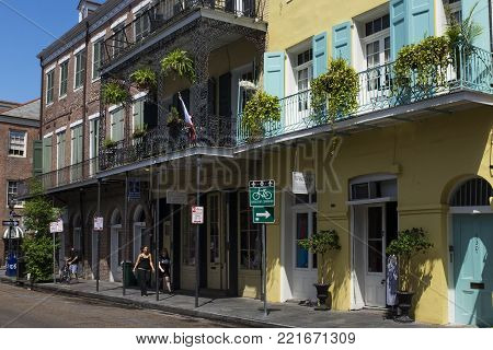 New Orleans, Louisiana - June 17, 2014: Street scene in a street of the French Quarter in New Orleans, Louisiana, USA