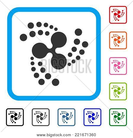 Ripple Swirl Rotation icon. Flat gray pictogram symbol inside a blue rounded rectangle. Black, grey, green, blue, red, pink color additional versions of ripple swirl rotation vector.