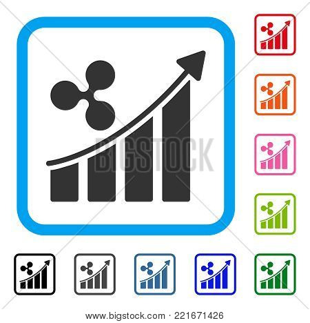 Ripple Trend Up icon. Flat grey pictogram symbol inside a blue rounded rectangle. Black, gray, green, blue, red, pink color variants of ripple trend up vector. Designed for web and app user interface.