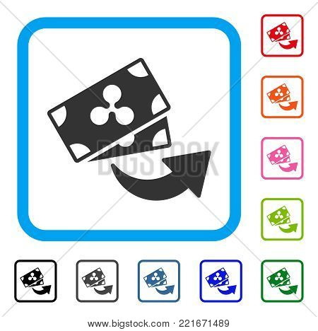 Send Ripple Banknotes icon. Flat grey pictogram symbol inside a blue rounded rectangle. Black, gray, green, blue, red, orange color additional versions of send ripple banknotes vector.