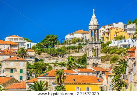 Scenic view at mediterranean traditional architecture in Hvar town, european tourist resort in southern Croatia, Europe.