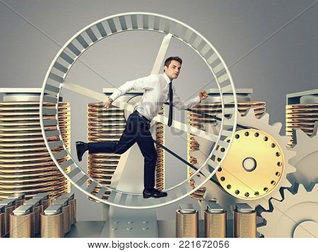 young man run in abstract 3d hamster wheel