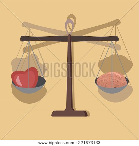 brain and heart on balance, allegory of feelings mind confrontation - vector cartoon illustration in flat style
