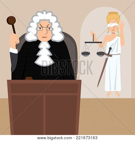 judge in mantle with lady justice at background - funny vector cartoon illustration in flat style