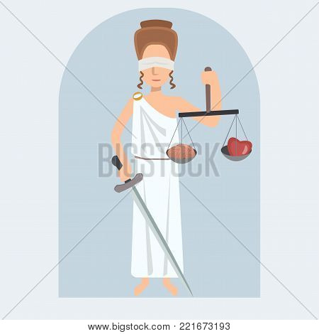 Lady Justice  vector cartoon  with brain and heart on scale - vector illustration of ethical confrontation in flat style