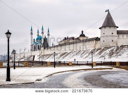 View of the Kazan Kremlin and Kul-Sharif Mosque, Kazan, Russia