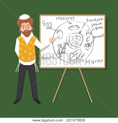 jewish male character explaining seder plate - vector cartoon illustration in flat style