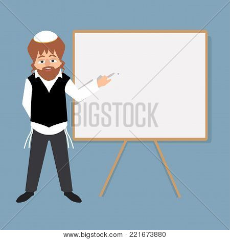 jewish teacher standing in front of school board teaching students at yeshiva - vector cartoon illustration in flat style