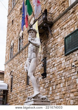 David by Michelangelo, the most famous statue in Florence, Italy