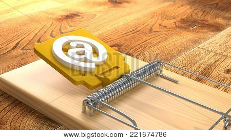 Mousetrap on wooden floor with an at symbol phishing cybersecurity concept 3D illustration